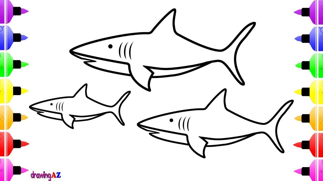 White Shark Coloring Page for Kids | Coloring Book for Kids ...