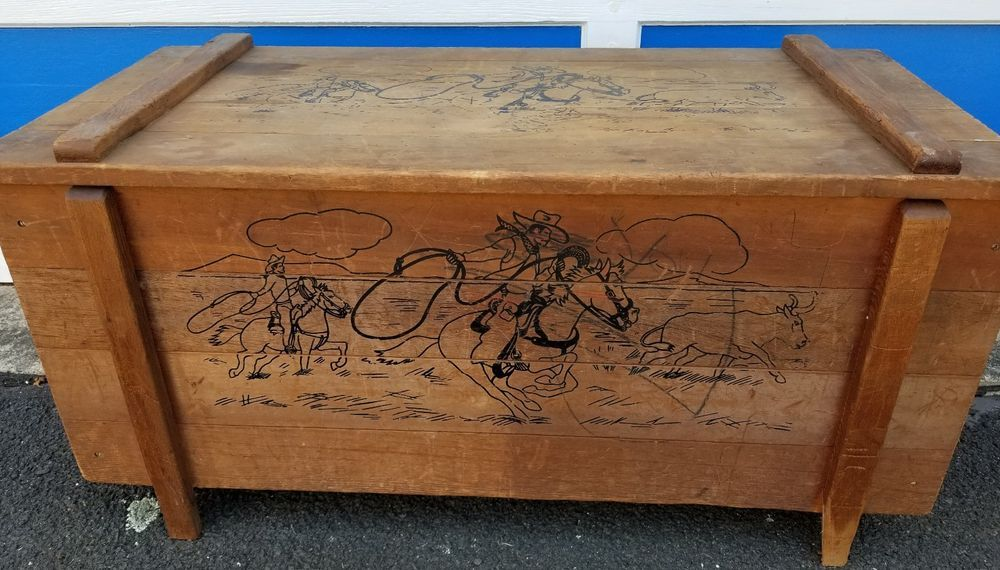 Vintage Kids Antique Wood Toy Box Chest Western Rodeo Style Roy Rogers Era How To Antique Wood Wood Toy Box Kids Toy Boxes
