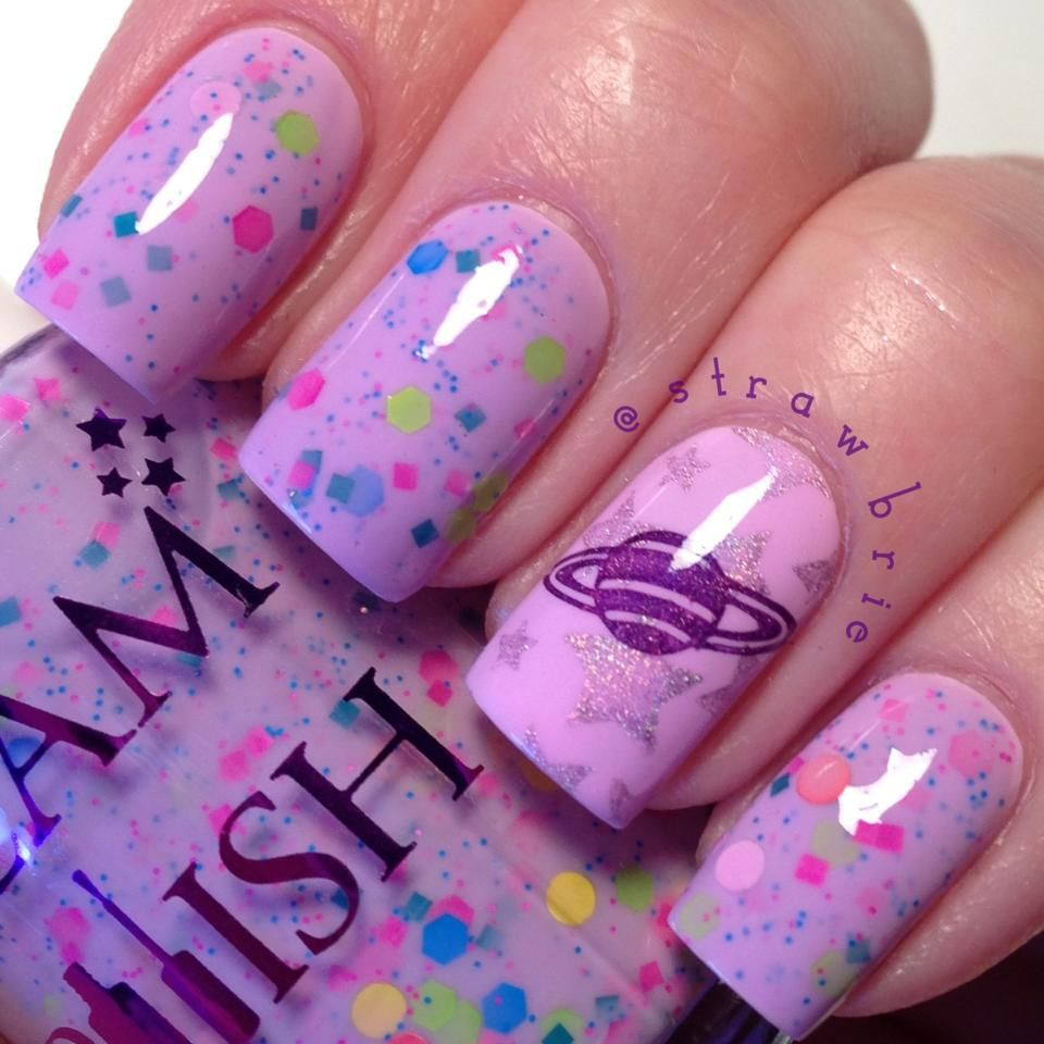Products pastel purple blue glitter and nails inspiration