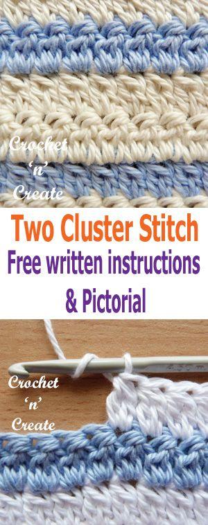 Crochet Two Cluster Stitch Pictorial | Häkelmuster, Muster und Häkeln