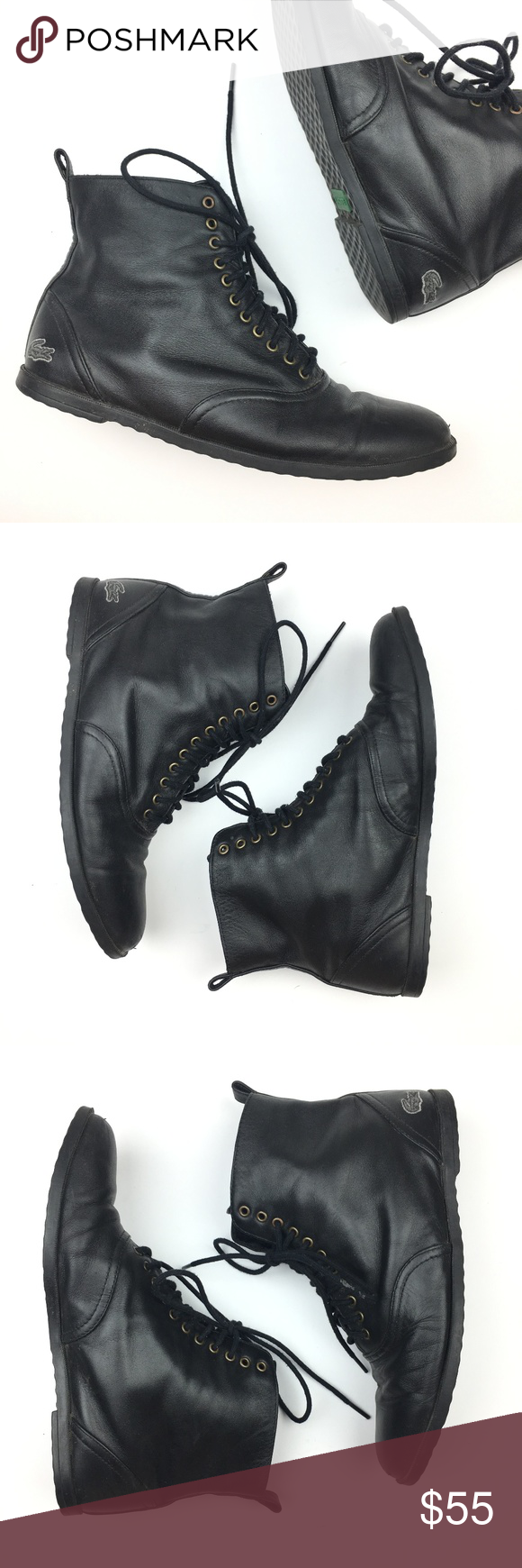 Yuxone Lacoste Up Lacoste Black 3 And Lace Boots Rare CxxdwpSq