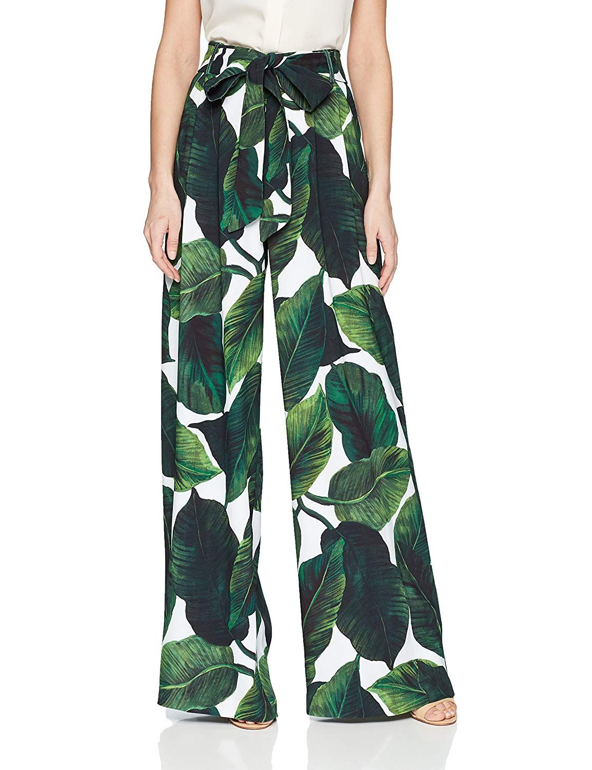 MILLY Women s High Waisted Wide Leg Front Pleated Natalie Pant Tropical  Print Flowy Pants Lounge Pants 29941b7f9