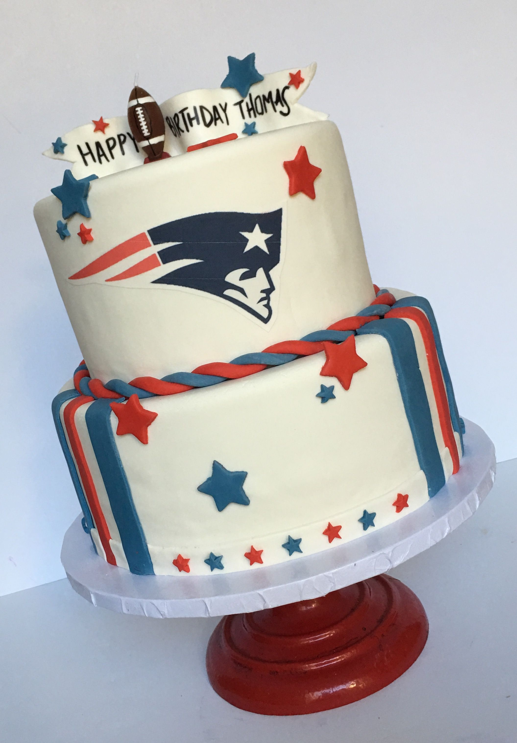 Red White And Blue Patriots Birthday Cake For A Boy S Football Birthday Party Birthday Cakes For Men Boy Birthday Cake Football Birthday Party