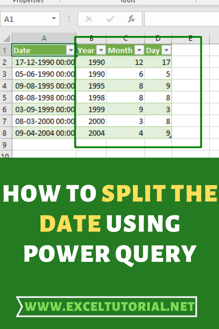 How To Split The Date Using Power Query In 2020 Excel Tutorials Microsoft Excel Formulas Microsoft Excel Tutorial