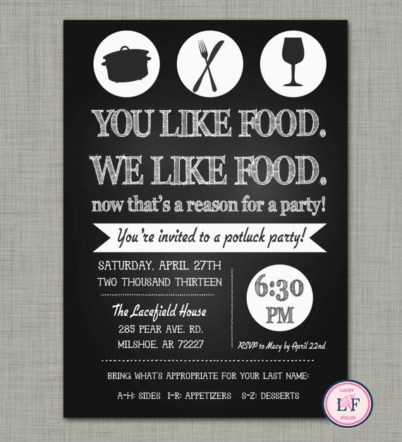 Ideas For A Potluck Dinner Party Part - 30: Chalkboard Pot Luck Party Invite- Just Because Party - Housewarming Party- Dinner  Party Invitation- Kitchen Party- Kitchen Shower Invite