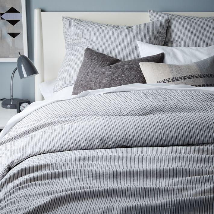 striped belgian flax linen duvet cover shams home with ryan linen duvet duvet duvet covers. Black Bedroom Furniture Sets. Home Design Ideas