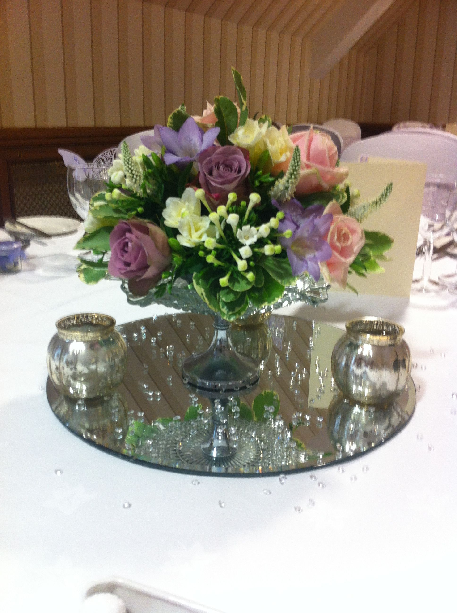 Vintage Glass Cake Stand With Floral Arrangement