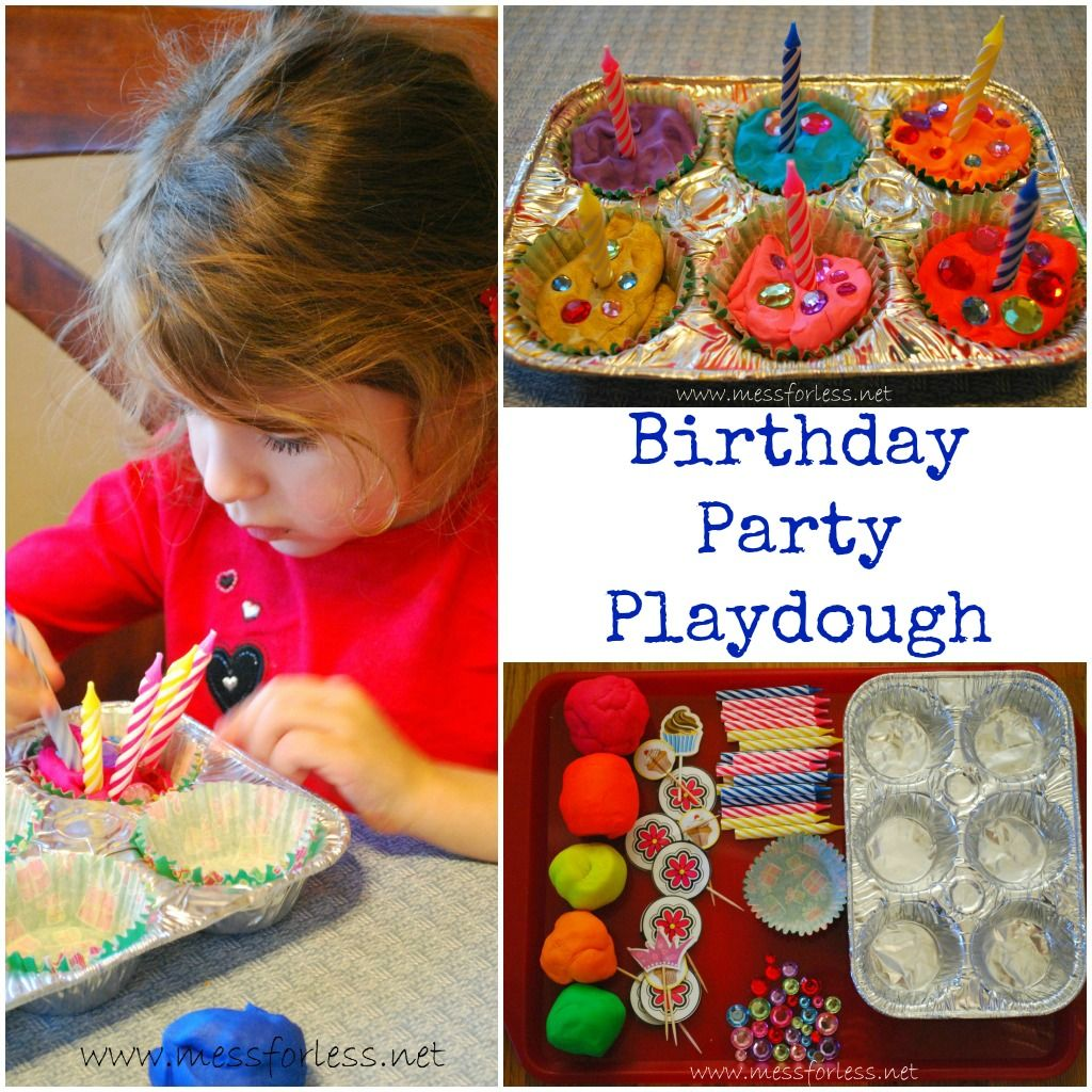 Playdough Games: Birthday Party Playdough - Mess for Less
