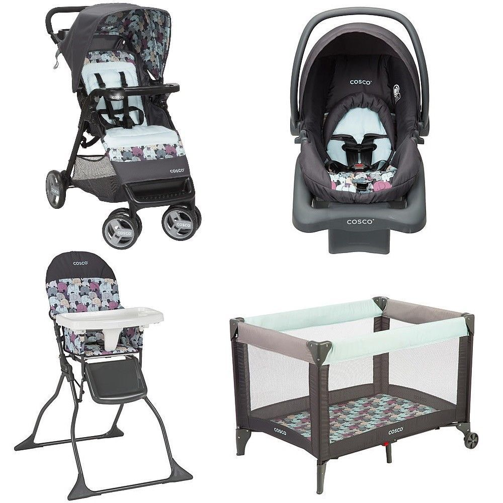 Maxi-cosi Adorra Travel System - Graphic Flower Elephant Print Nursery Set Play Yard Travel System Stroller