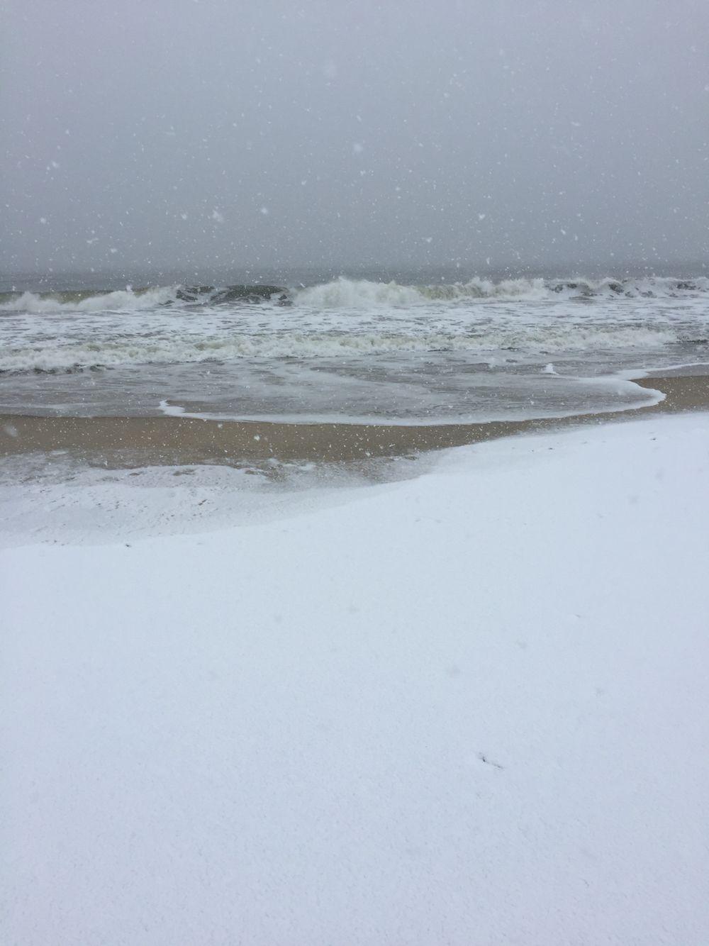 Beach. Ocean. Snow. So pretty!