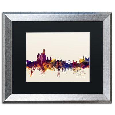"Trademark Art ""Amsterdam Skyline"" by Michael Tompsett Framed Graphic Art Size: 16"" H x 20"" W x 0.5"" D"