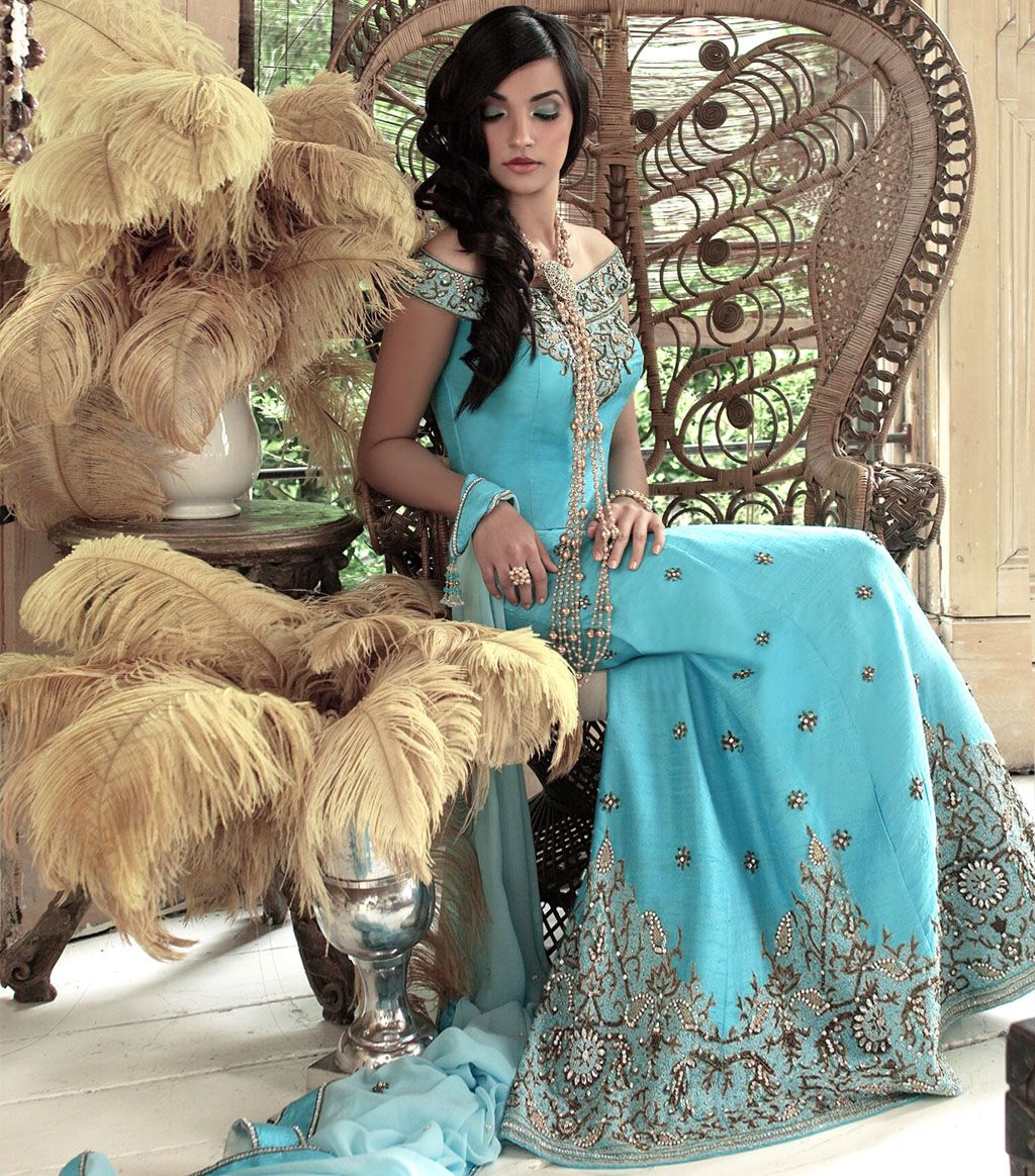 Elegant Turquoise Fishtail from Sona\'s Couture | Dresses ...