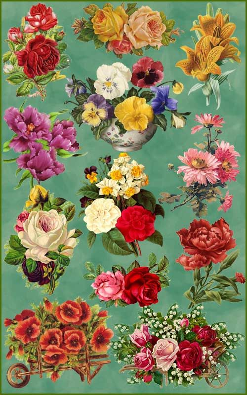free vintage 3D WALLPAPER downloads | Clipart - Vintage flowers 2 ...