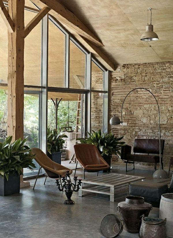 rustikales Wohnzimmer Boden Decke Fenster Natursteinwand ...
