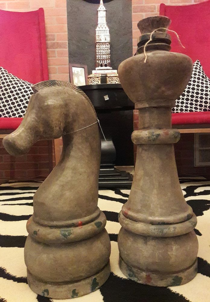 Two 2 Large Chess Pieces Horse Knight Rook Garden Home Decor Tall Rustic 27