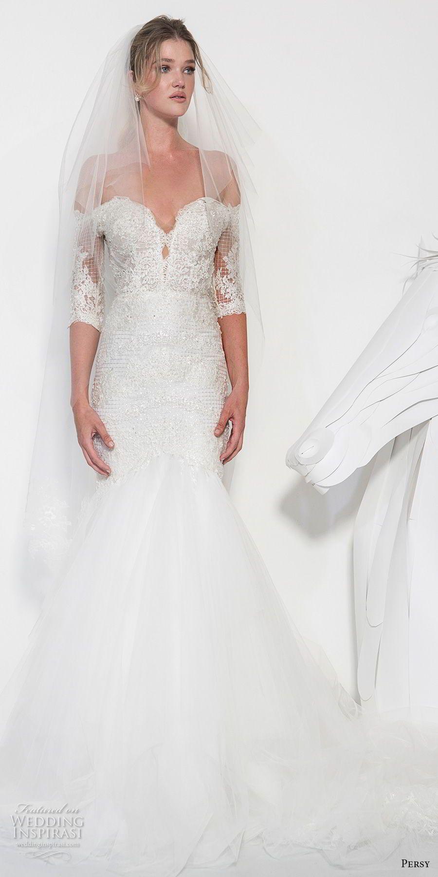 Persy Couture 2019 Braut Halbarm ab der Schulter Herz Ausschnitt ...
