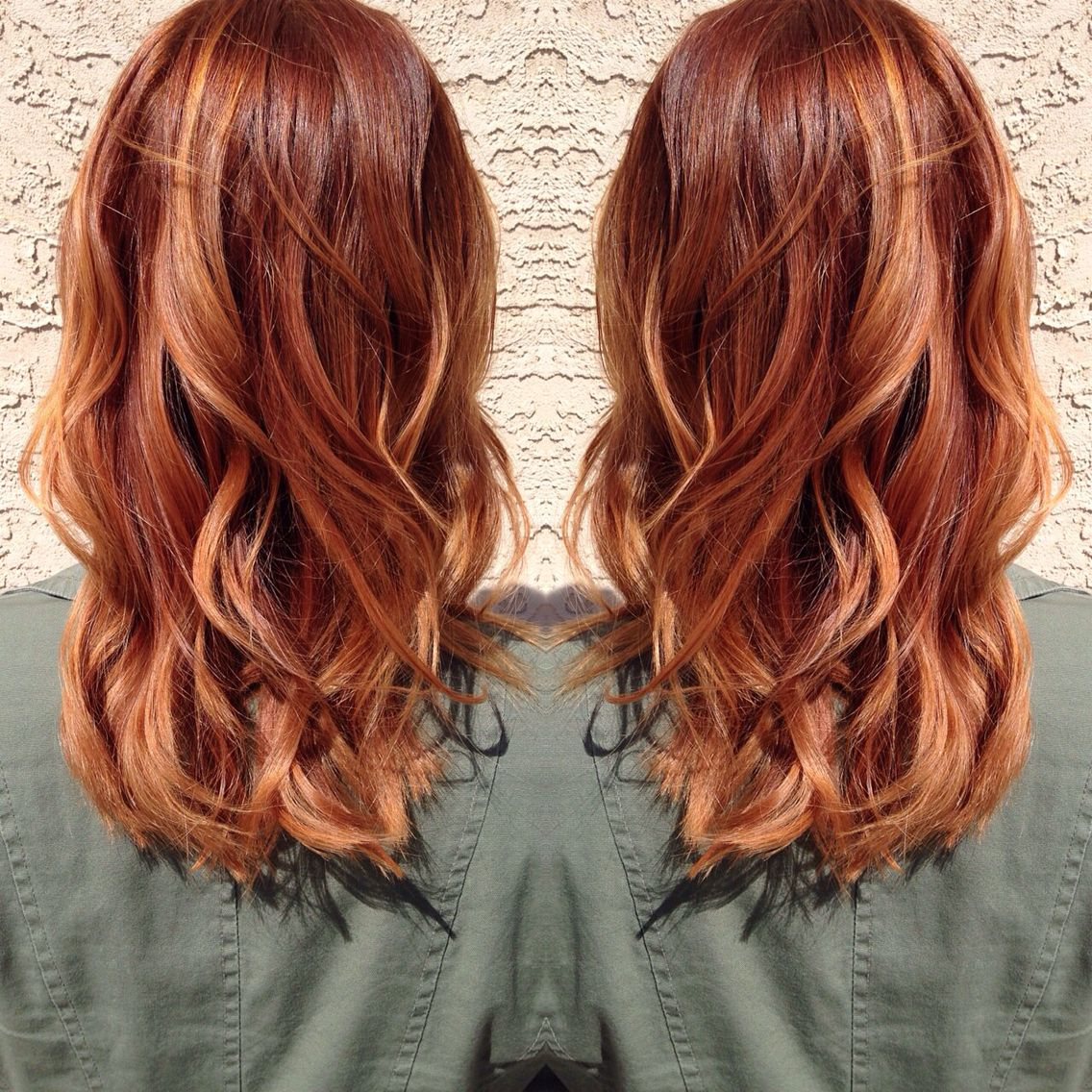 Medium copper blonde hair. #copperbalayage