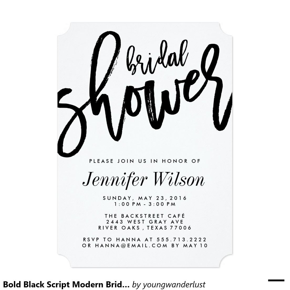 Bold Black Script Modern Bridal Shower Invitations