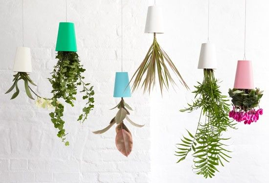 Vaso Invertido Boskke Sky Planter Reciclado Azul + Cabo de Aço - Vasos decor8.com.br loja de decoração online