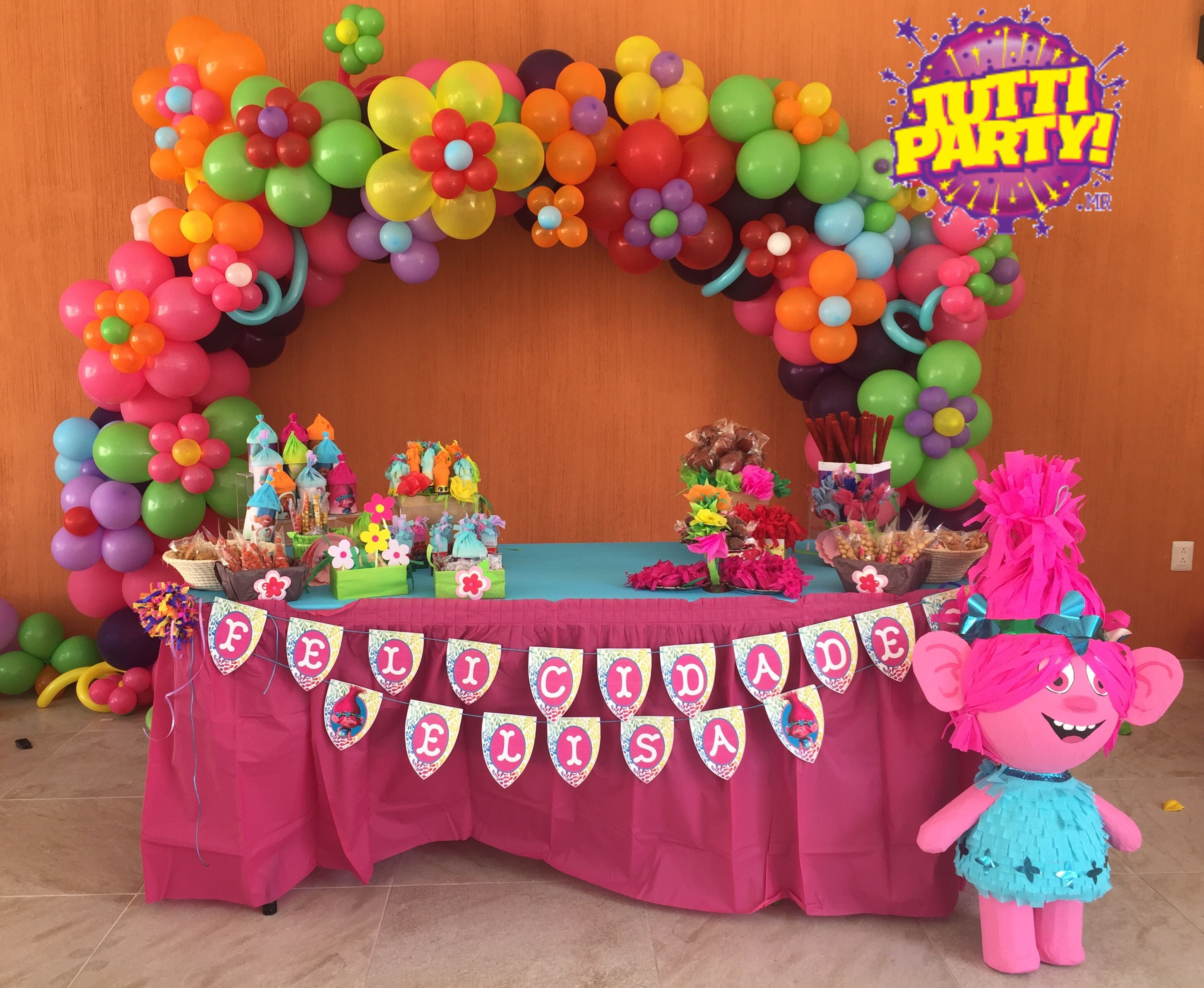 Trolls party decorations trolls arch balloons ideas for B day party decoration ideas