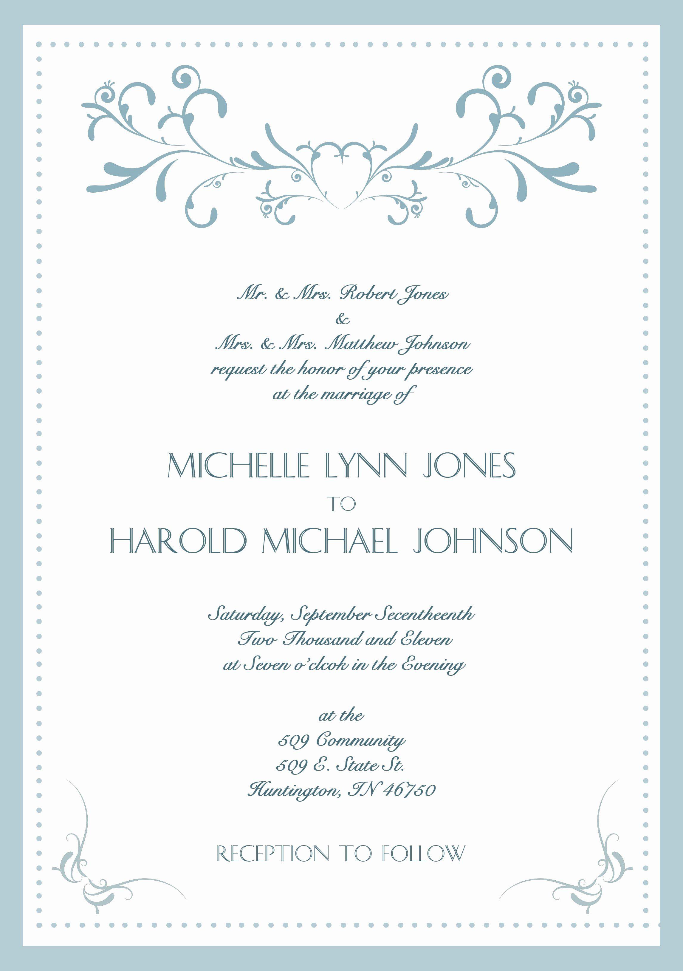 Wedding Invitations Template Word Inspirational Wedding Invita Wedding Invitation Wording Formal Wedding Invitations Examples Sample Wedding Invitation Wording