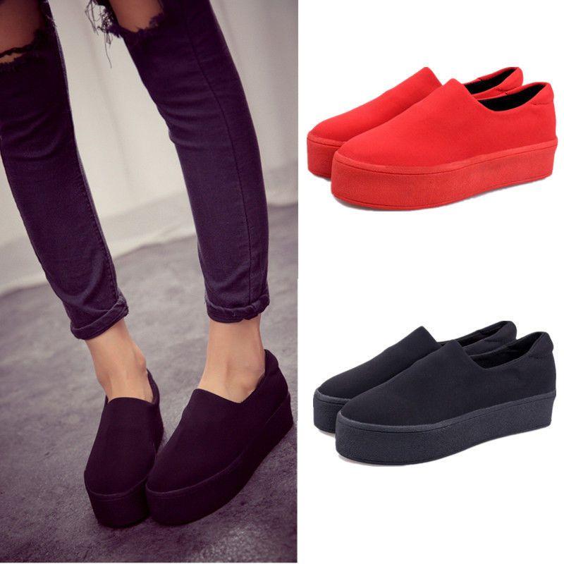Footwear · Simple Comfortable Women Girls Platform Slip-on Pumps Casual  Flats ...