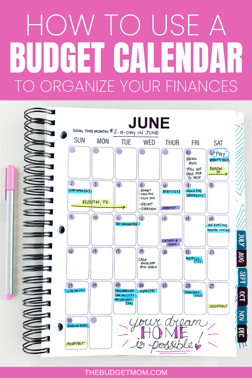 How to Use a Budget Calendar #savingmoney