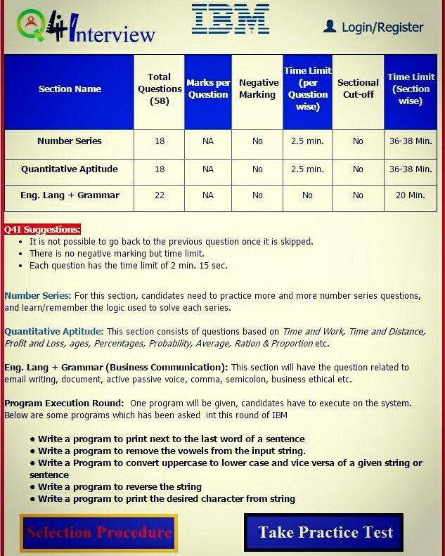 take IBM written round mock test, English & Business