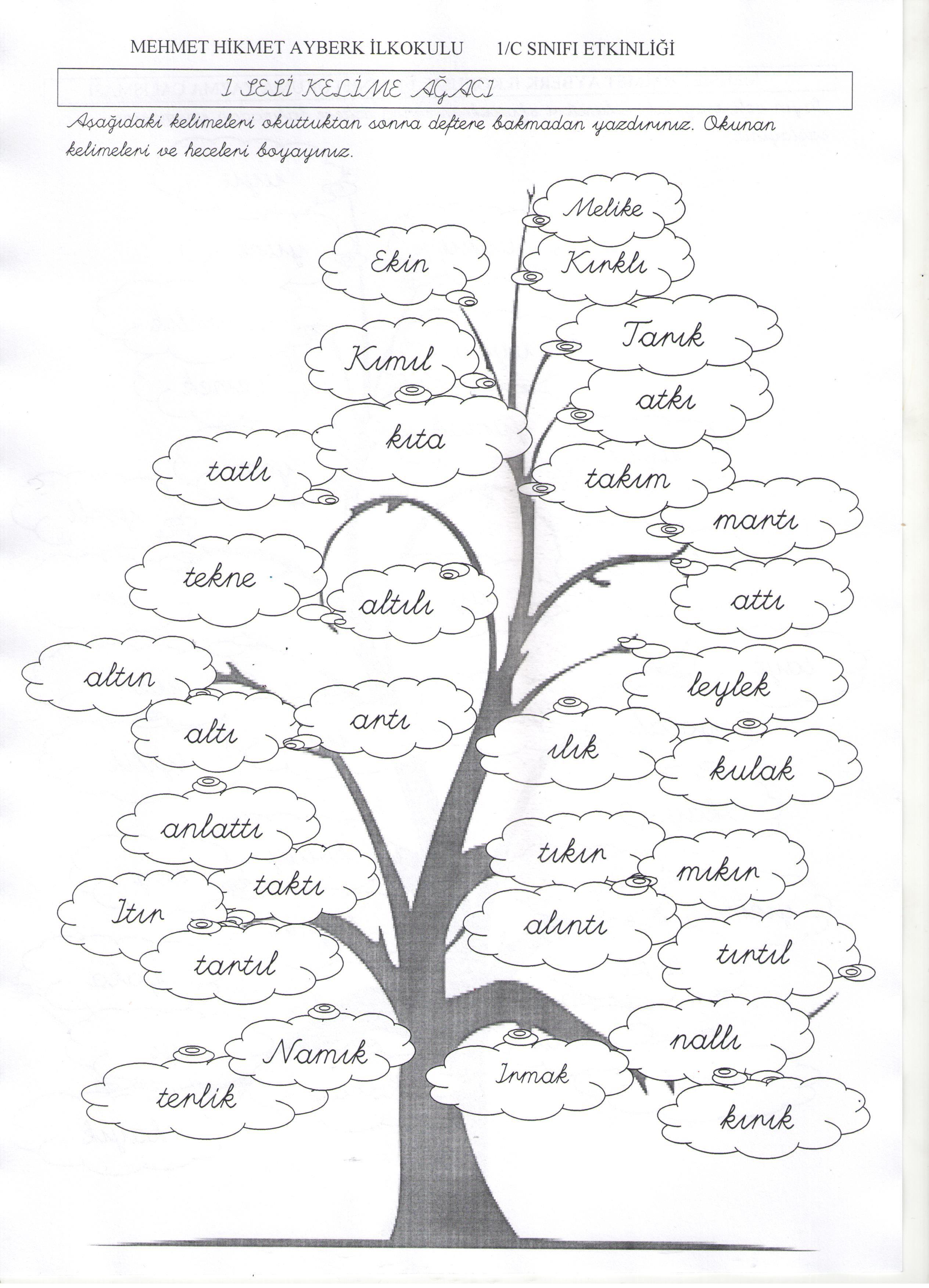 I Sesi Kelime Ağacihaznedar 1 Sınıf Okuma Yazma First Grade