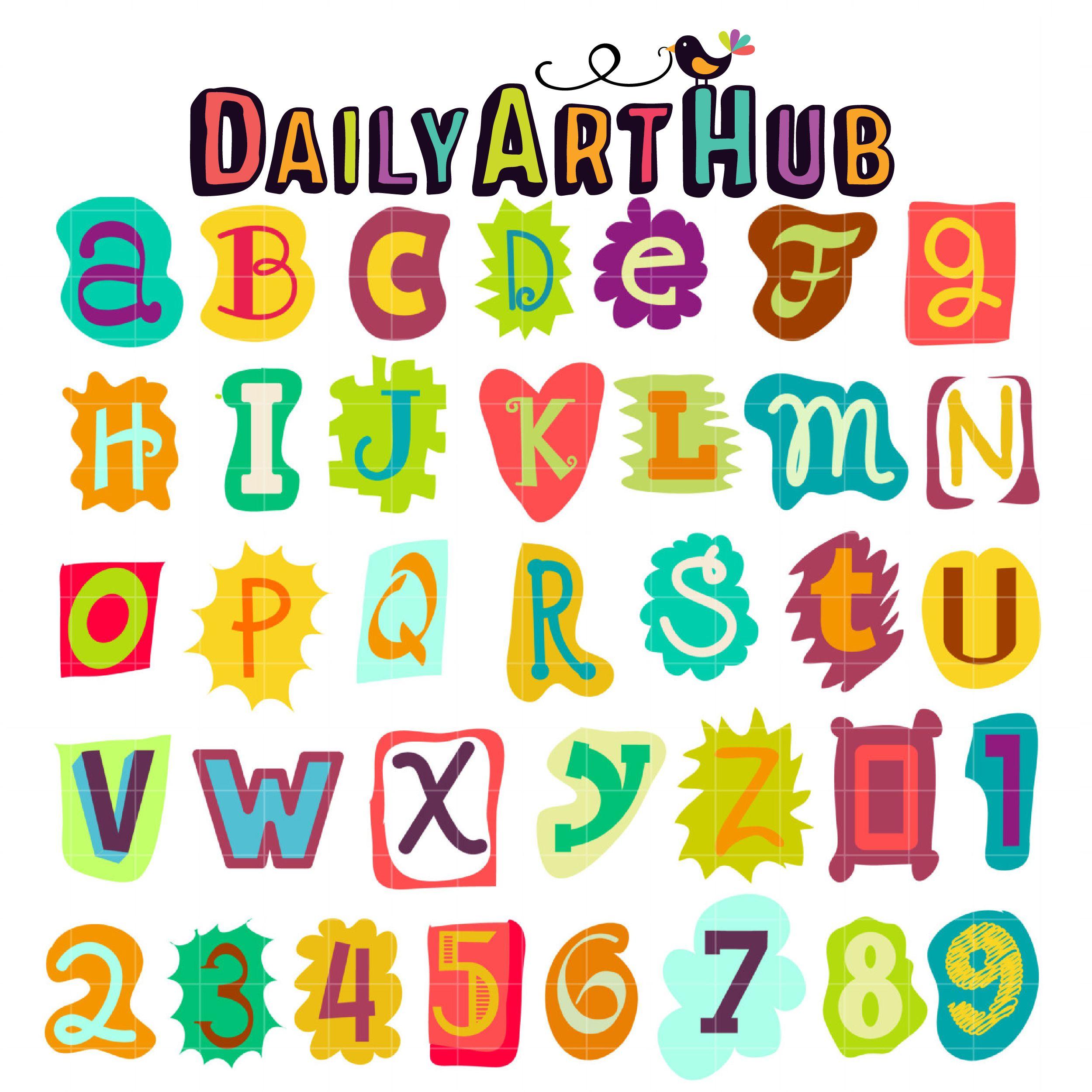 Funky Letters Clip Art Set Clip Art Free Clip Art Lettering