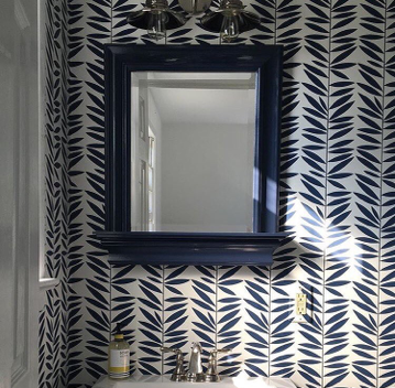 How playful is this powder room in our Leaf Stripe