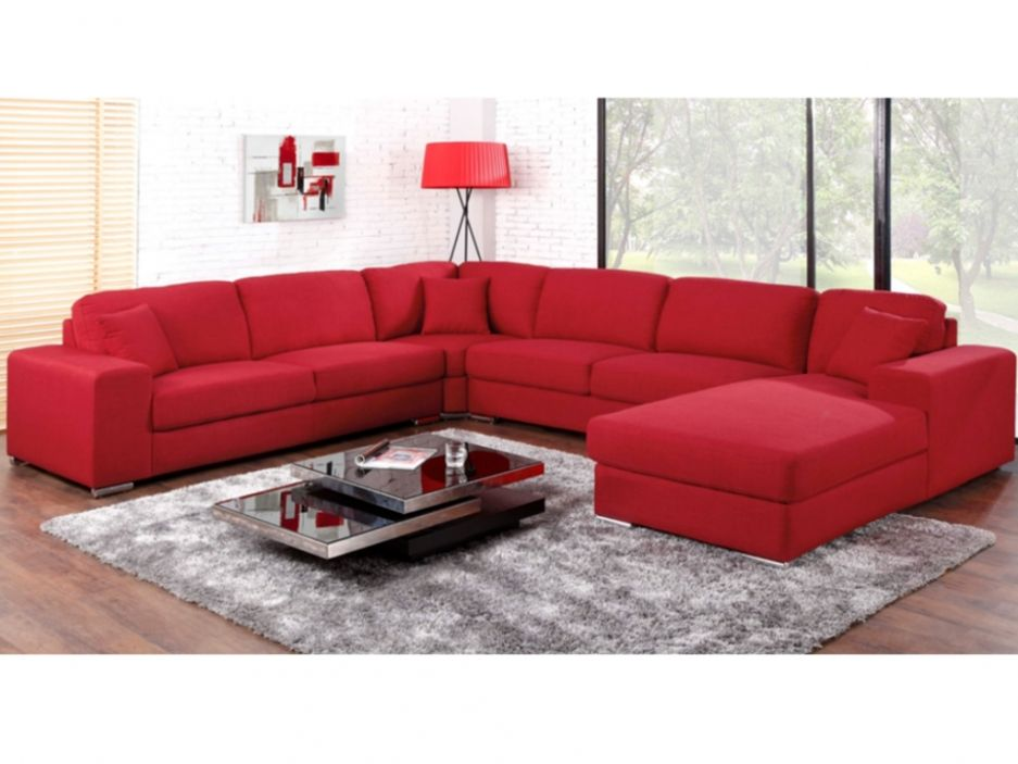 canap panoramique 7 places tissu muse rouge angle. Black Bedroom Furniture Sets. Home Design Ideas
