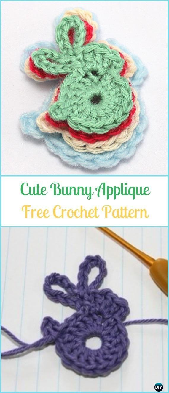 Crochet Cute Bunny Applique Free Pattern-Crochet Bunny Applique Free ...