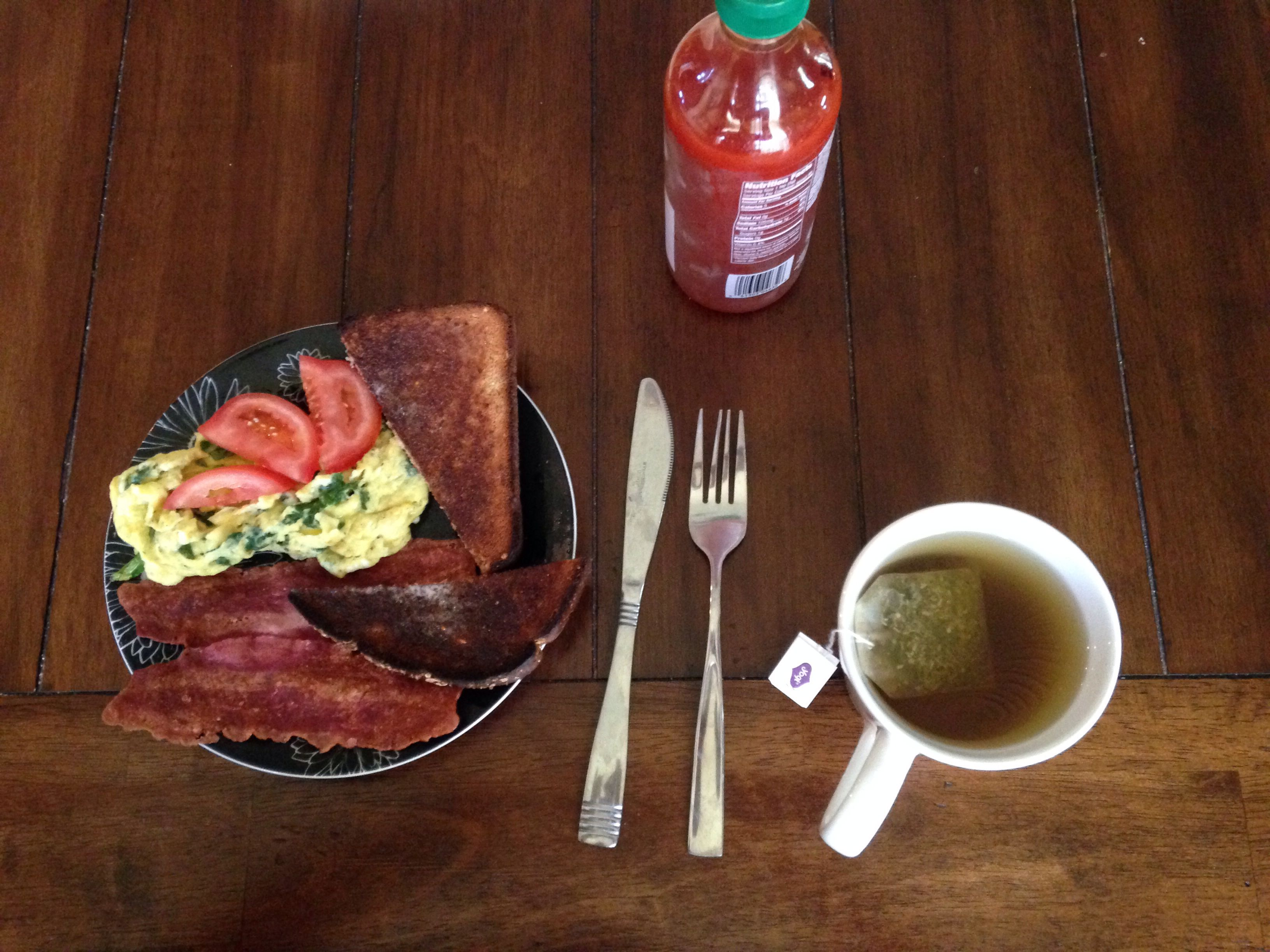 Easy healthful breakfast and the always necessary sriracha on the menu
