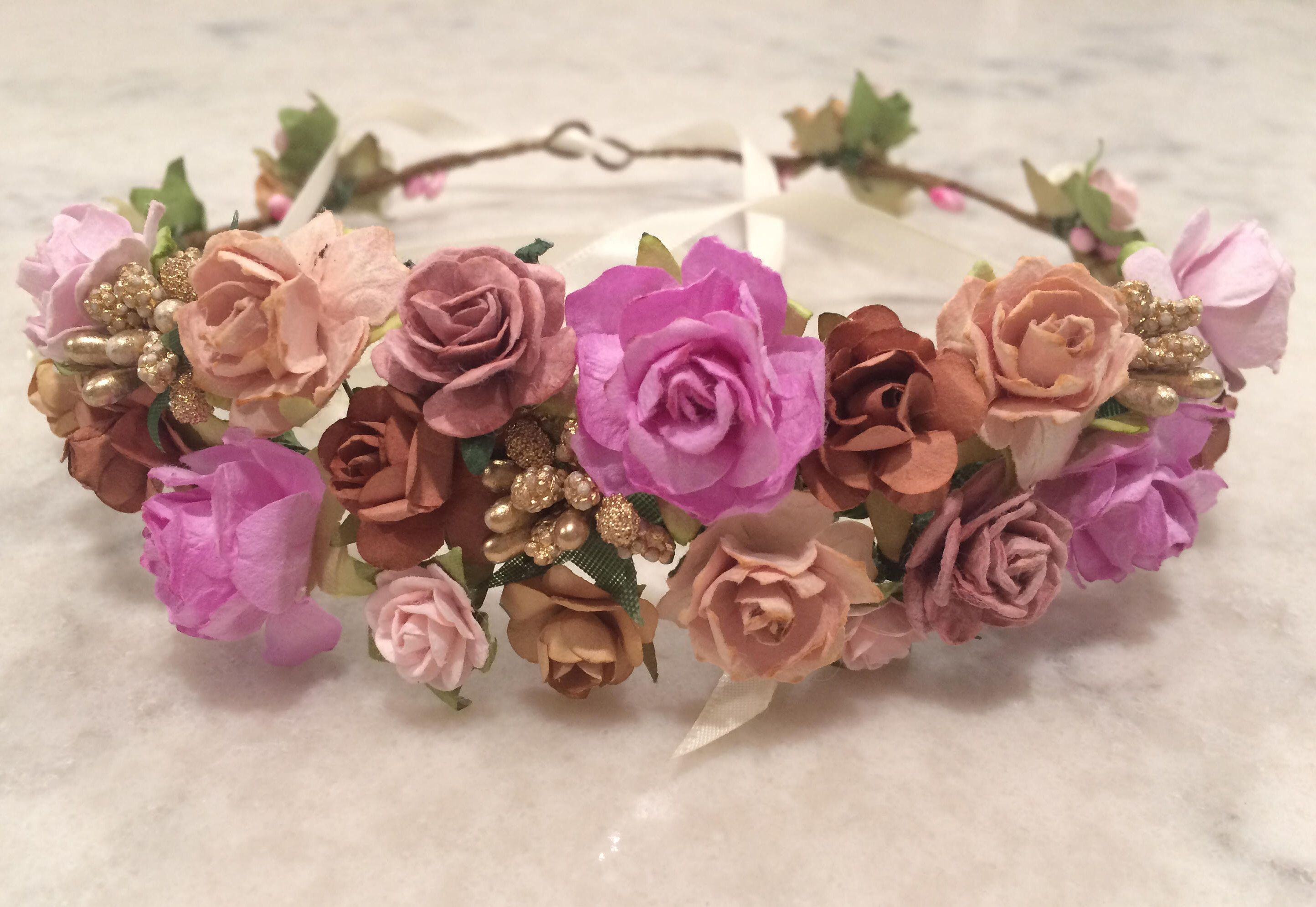 Fall Flower Crown Gold Brown Autumn Roses And Berries Tiara Flower