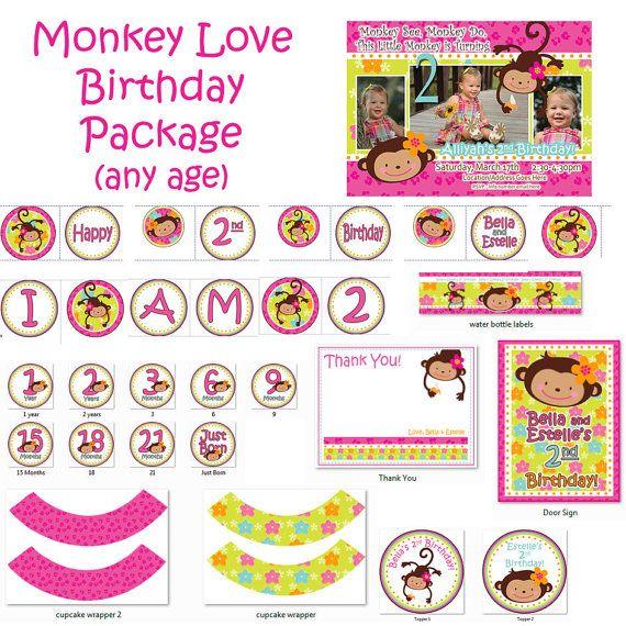 Monkey Love Birthday Package Printout