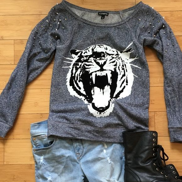 Men/'s Women/'s Campus Classic Tiger Head Embroidery Sweater