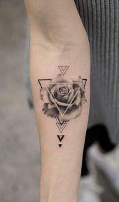 Einzigartige geometrische Rose Unterarm Tattoo Ideen für Frauen Trendy Floral F…