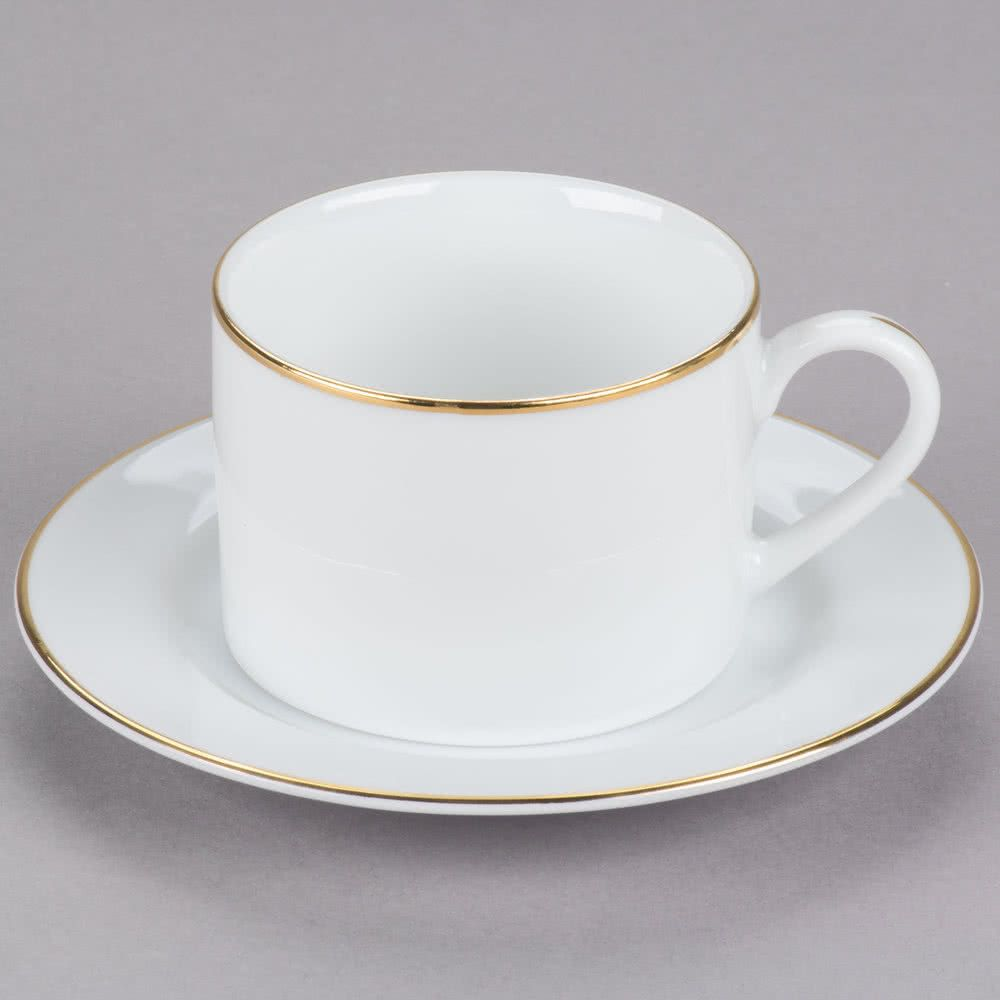 10 Strawberry Street Gl0009 6 Oz Gold Line Porcelain Can Cup With Saucer 24 Case White Coffee Cups Porcelain Dinnerware 10 Strawberry Street