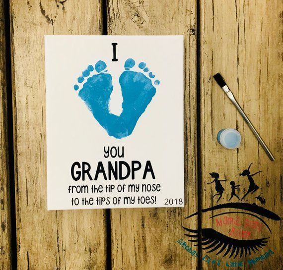 I Love Grandpa, Toddler Footprint Art, Baby Footprint Art, Gift for Grandpa, Father's Day, Grandparent's Day, Mama Don't Blink #grandparentsdaygifts