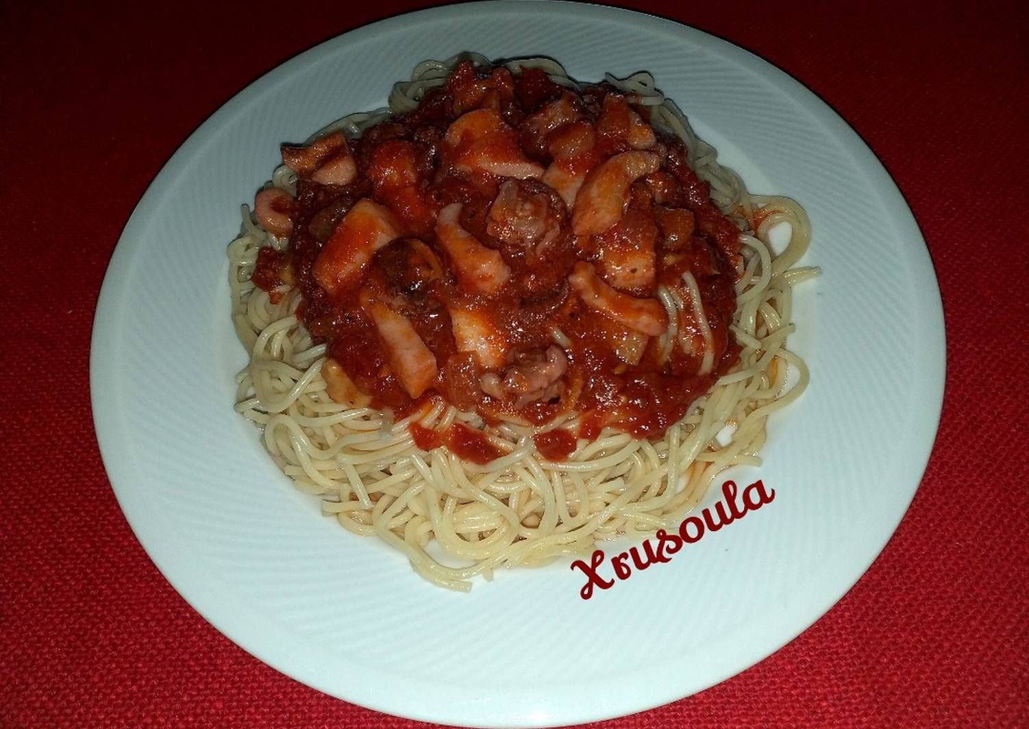 Photo of Ικ Spicy spaghetti with seafood (economical) recipe by Chrysoula Kontopoulou