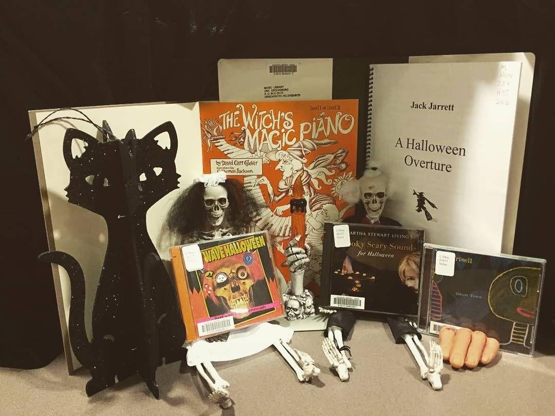 HAPPY HALLOWEEN!!! Come check out these SPOOKY hits today at the HSML!   #hsml #uncg #hsmluncg #haroldschiffmanmusiclibrary #musicmaniamonday #happyhalloween #AHalloweenOverture #JackJarrett #TheWitchsMagicPiano #MarthaStewart