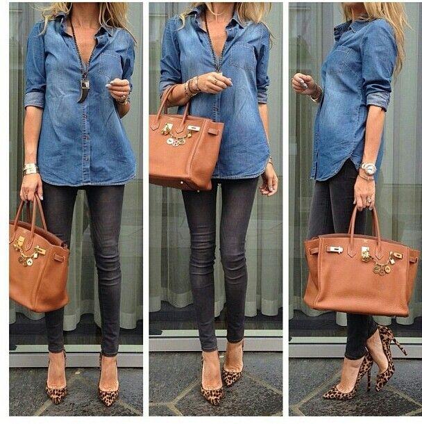 1b34b05faae Jean shirt, black pants, leopard shoes, gold birkin..Love this look ...