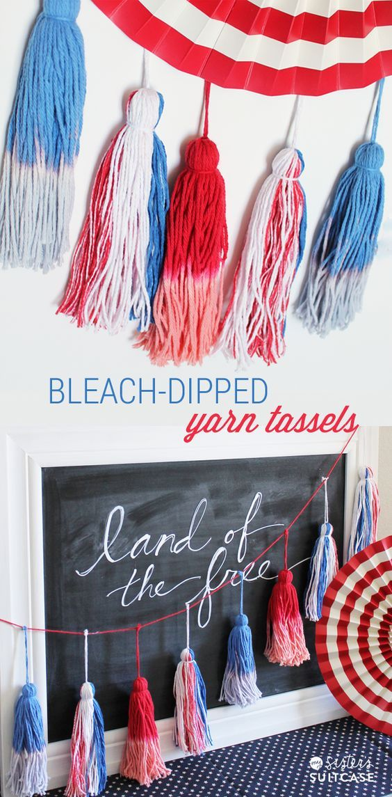 Bleach dipped tassels for 4th of July decor. #ultimateredwhiteandblue