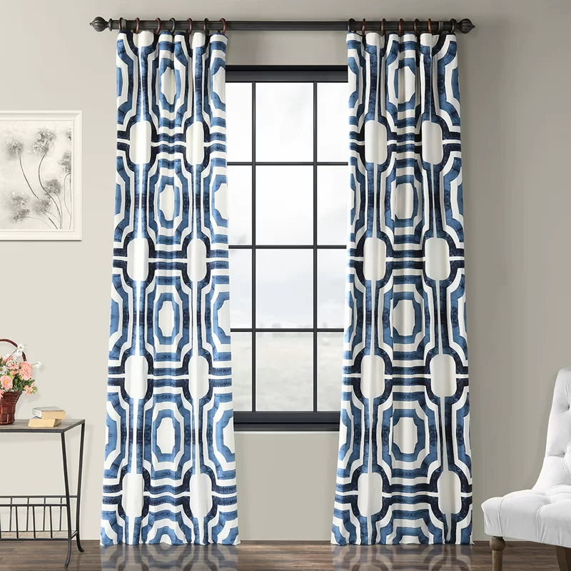 Mercury Row Donato Cotton Geometric Room Darkening Rod Pocket Single Curtain Panel Reviews Wayfair Printed Cotton Curtain Half Price Drapes Panel Curtains
