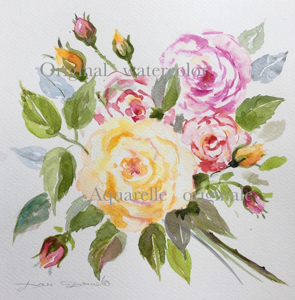Dam Domido Aquarelle Originale Original Watercolor Painting Akoun