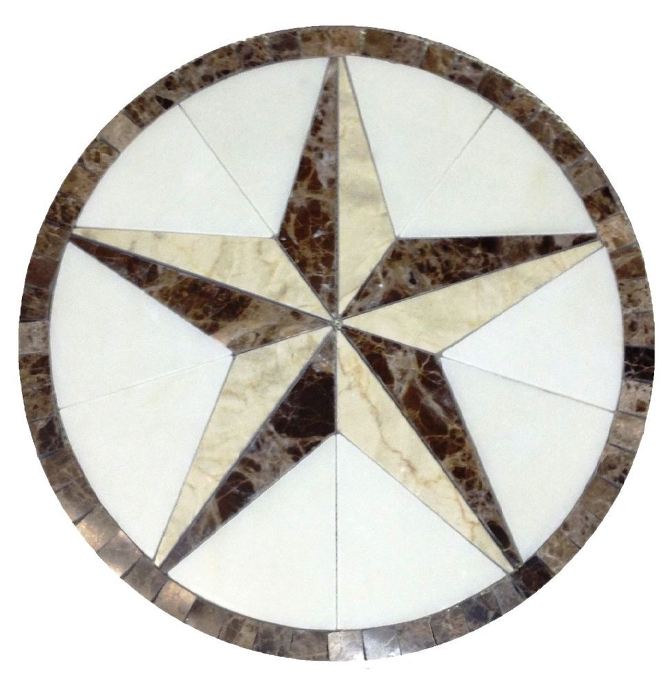 Floor Marble Medallion Texas Star Tile Mosaic 24 Crema Marfil Us
