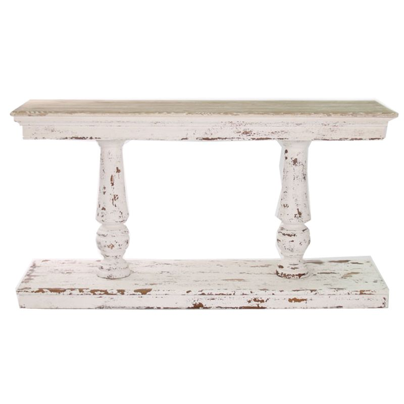 Distressed White French Console Table