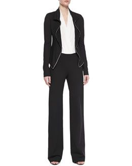 f91faed83ef8 Donna Karan Chain-Trimmed Jacket, Sleeveless Plunging Poplin Bodysuit &  Pull-On Wide-Leg Trousers