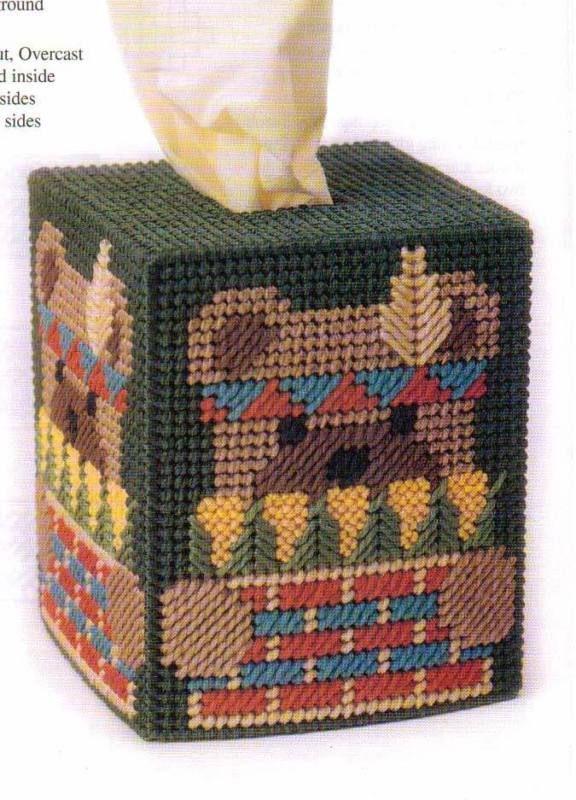 harvest bear tissue box cover plastic canvas pattern